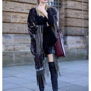 Zara Fringed Velvet Kimono